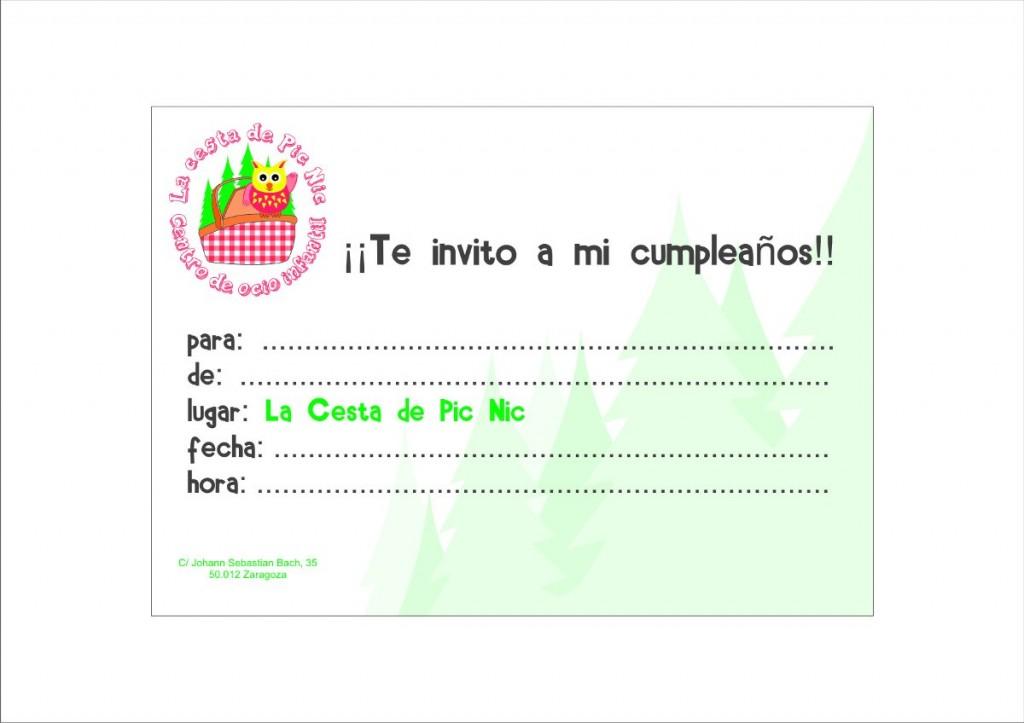 Invitación De Cumpleaños En La Cesta De Picnic